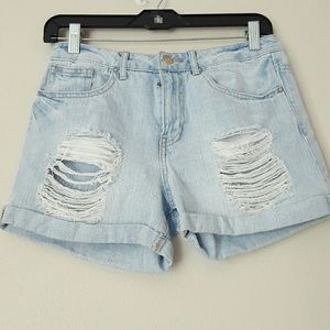 Forever 21 Los Angeles high rise distressed shorts